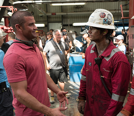 "On the set with the real-life Caleb Holloway and Dylan O'Brien, who plays Holloway in the movie, ""Deepwater Horizon."""